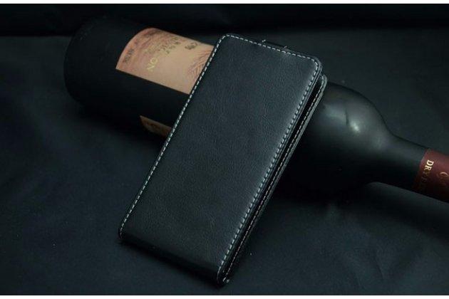 """Фирменный оригинальный вертикальный откидной чехол-флип для  Highscreen Pure F черный из натуральной кожи """"Prestige"""" Италия"""