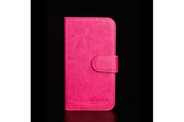 """Фирменный чехол-книжка из качественной импортной кожи с подставкой застёжкой и визитницей для Highscreen Pure J"""" розовый"""