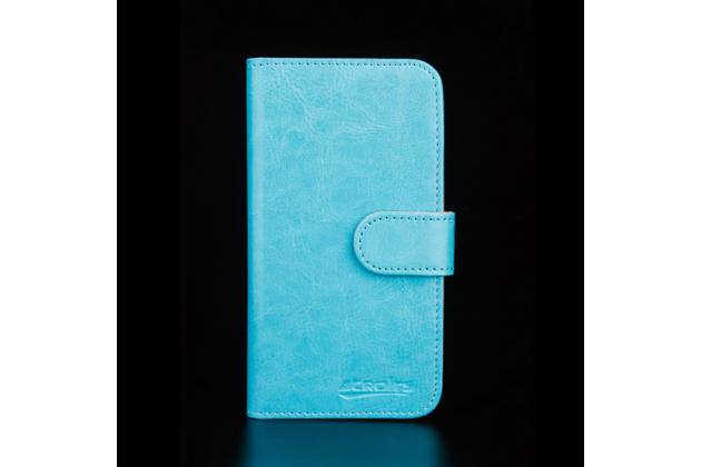 """Фирменный чехол-книжка из качественной импортной кожи с подставкой застёжкой и визитницей для Highscreen Pure J"""" голубой"""
