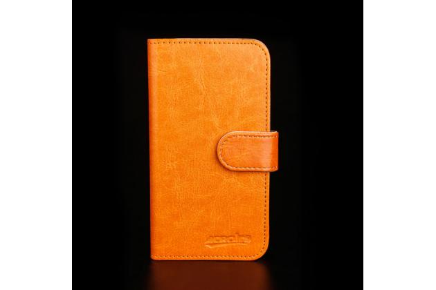 Фирменный чехол-книжка из качественной импортной кожи с подставкой застёжкой и визитницей для Highscreen Pure J коричневый