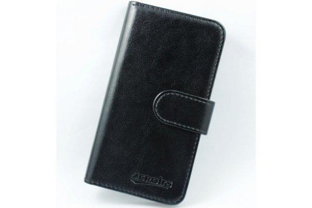 """Фирменный чехол-книжка для Highscreen Pure Power 5.0"""" с визитницей и мультиподставкой черный кожаный"""