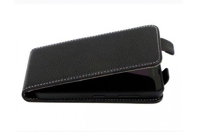 """Фирменный оригинальный вертикальный откидной чехол-флип для Highscreen Pure Power 5.0"""" черный"""