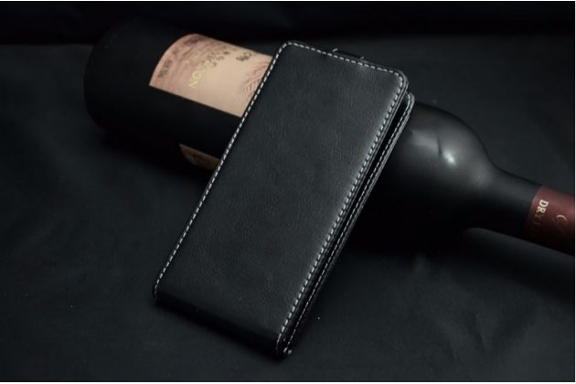 """Фирменный оригинальный вертикальный откидной чехол-флип для For Highscreen spark 2 черный из натуральной кожи """"Prestige"""" Италия"""