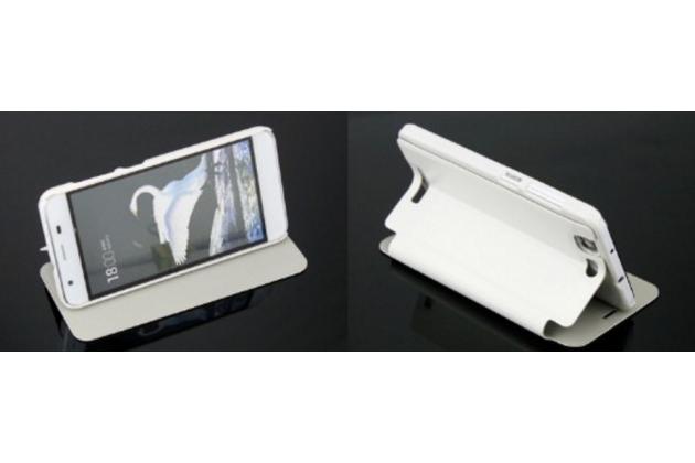 """Фирменный чехол-книжка из качественной водоотталкивающей импортной кожи на жёсткой металлической основе для Highscreen Tasty"""" белый"""