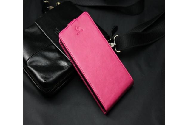 """Фирменный оригинальный вертикальный откидной чехол-флип для Highscreen Verge"""" розовый из натуральной кожи Prestige Италия"""