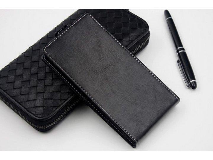 Фирменный оригинальный вертикальный откидной чехол-флип для  Highscreen Zera U черный из натуральной кожи
