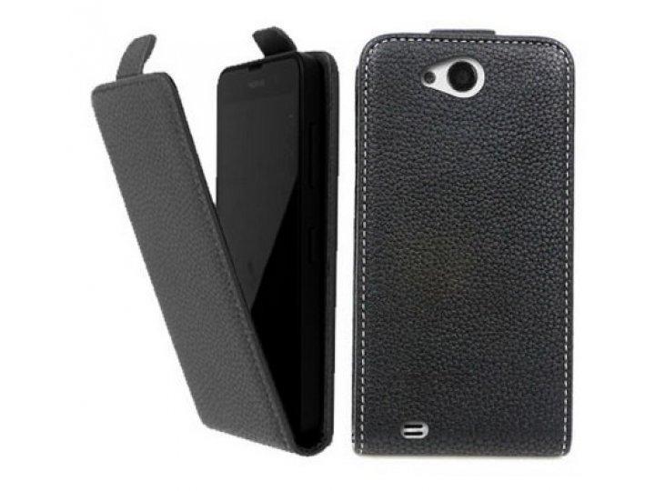 Фирменный оригинальный вертикальный откидной чехол-флип для  Highscreen Alpha R черный из натуральной кожи