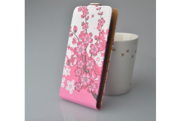 """Фирменный вертикальный откидной чехол-флип для Highscreen Boost 2""""   """"тематика Цветок Вишни"""""""