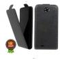 Фирменный оригинальный вертикальный откидной чехол-флип для  Highscreen Omega Prime XL черный из натуральной к..