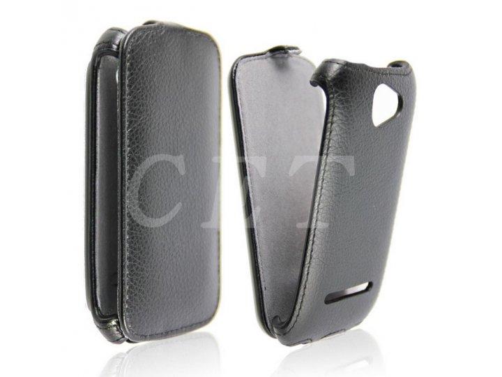 Фирменный оригинальный вертикальный откидной чехол-флип для  Highscreen Spark черный из натуральной кожи