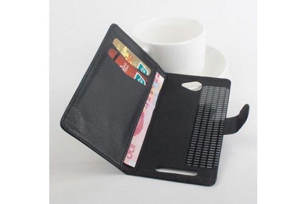 Фирменный чехол-книжка из качественной импортной кожи с мульти-подставкой застёжкой и визитницей для Хайскрин Спайдер 5.0' черный