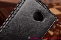 Фирменный оригинальный вертикальный откидной чехол-флип для Highscreen Spider черный кожаный