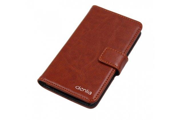Фирменный чехол-книжка из качественной импортной кожи с подставкой застёжкой и визитницей для HOMTOM HT10 коричневый