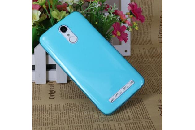 Фирменная ультра-тонкая полимерная из мягкого качественного силикона задняя панель-чехол-накладка для HomTom HT17/ HT17 Pro голубая