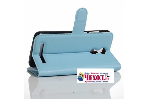 Фирменный чехол-книжка из качественной импортной кожи с подставкой застёжкой и визитницей для HomTom HT17/ HT17 Pro голубой