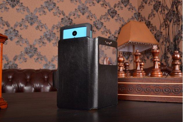 Чехол-книжка для HomTom HT20 кожаный с окошком для вызовов и внутренним защитным силиконовым бампером. цвет в ассортименте