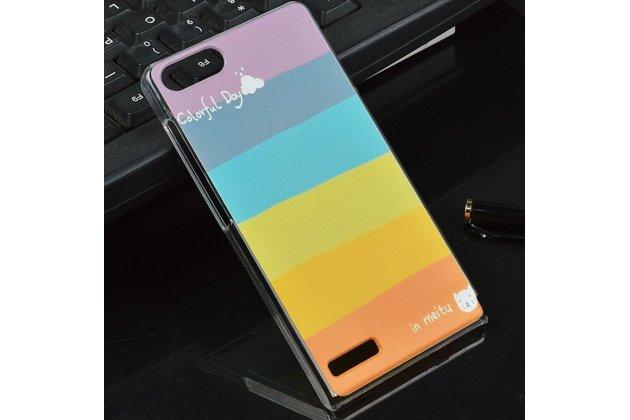 """Фирменная необычная из легчайшего и тончайшего пластика задняя панель-чехол-накладка для Huawei Ascend G6 """"тематика Все цвета Радуги"""""""
