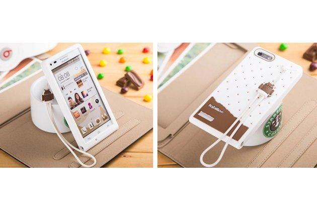"""Фирменная необычная уникальная полимерная мягкая задняя панель-чехол-накладка для Huawei Ascend P7 Mini """"тематика Андроид в Белом Шоколаде"""""""