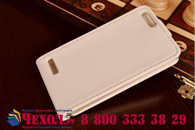 """Фирменный оригинальный вертикальный откидной чехол-флип для Huawei Ascend G6 белый из качественной импортной кожи """"Prestige"""" Италия"""