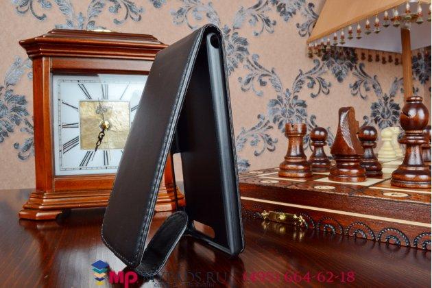 Фирменный оригинальный вертикальный откидной чехол-флип для Huawei Ascend G6 черный кожаный
