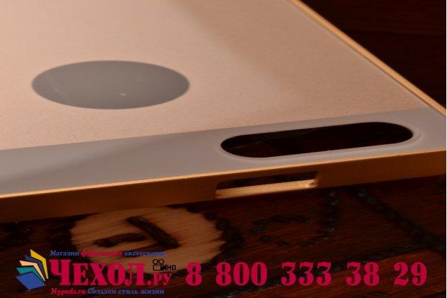 Фирменная металлическая задняя панель-крышка-накладка из тончайшего облегченного авиационного алюминия для Huawei Ascend G6 золотая