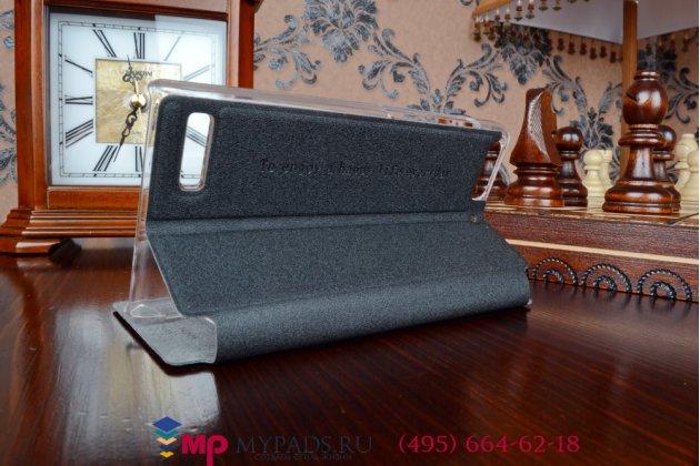 Фирменный оригинальный чехол-книжка для Huawei Ascend G6 черный кожаный с окошком для входящих вызовов и свайпом