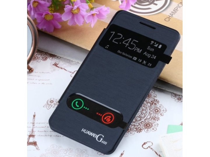 Фирменный чехол-книжка для Huawei Ascend Honor Pro G600 (U8950) черный с окошком для входящих вызовов и свайпо..