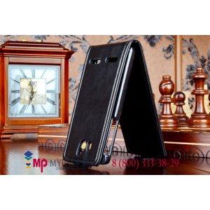 """Фирменный оригинальный вертикальный откидной чехол-флип для Huawei Ascend G600(U8950) черный кожаный """"Prestige"""" Италия"""
