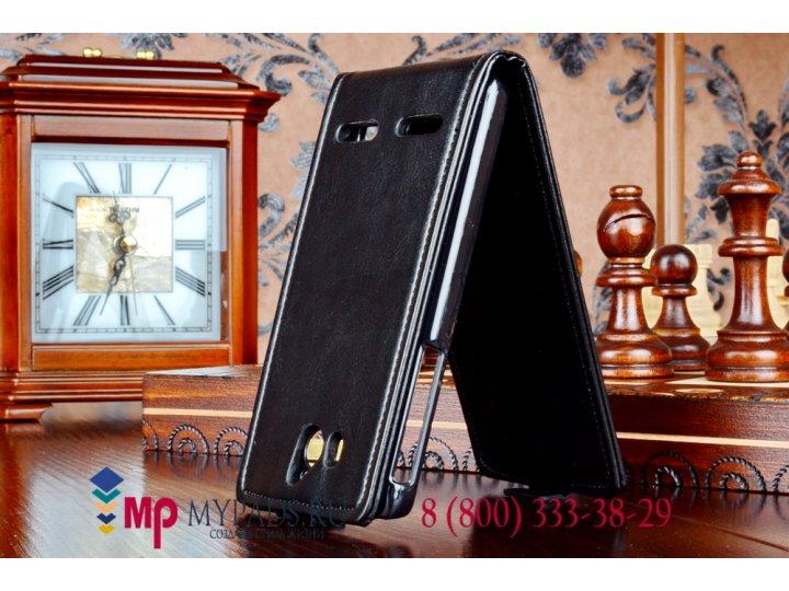 Фирменный оригинальный вертикальный откидной чехол-флип для Huawei Ascend G600(U8950) черный кожаный