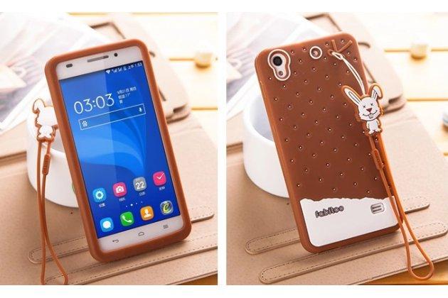 """Фирменная необычная уникальная полимерная мягкая задняя панель-чехол-накладка для Huawei Ascend G620S """"тематика Андроид в тёмном Шоколаде"""""""