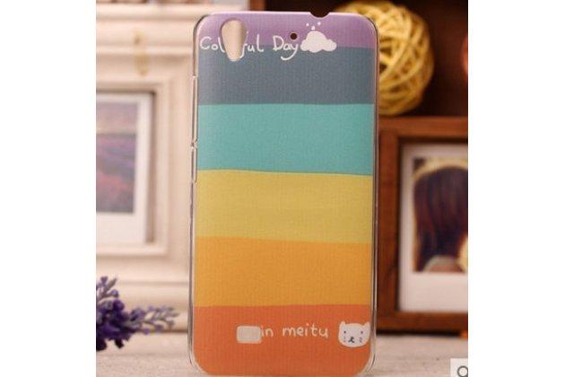 """Фирменная необычная из ультра-тонкого силикона задняя панель-чехол-накладка для Huawei Ascend G620S """"тематика Все цвета Радуги"""""""