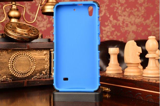 Противоударный усиленный ударопрочный фирменный чехол-бампер-пенал для Huawei Ascend G620S синий