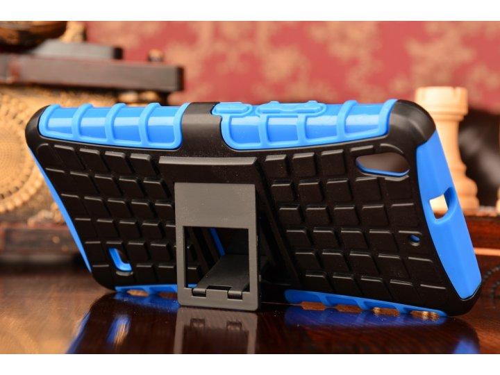 Противоударный усиленный ударопрочный фирменный чехол-бампер-пенал для Huawei Ascend G620S синий..