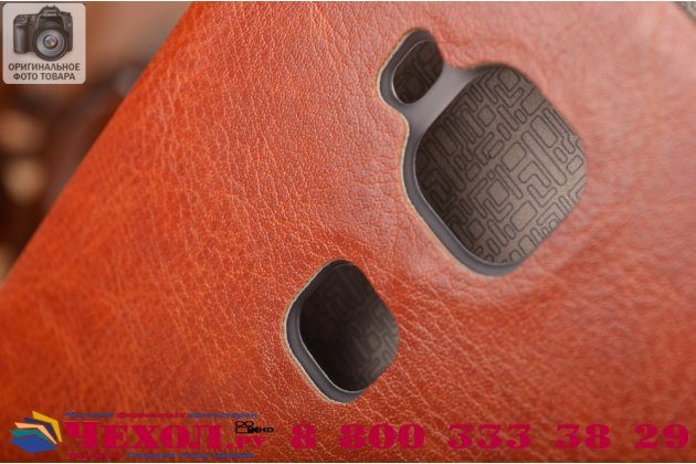 Фирменный чехол-книжка  для  Huawei Ascend G8/G7 Plus/GX8 из качественной водоотталкивающей импортной кожи на жёсткой металлической основе коричневого цвета