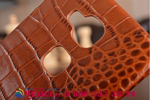 Фирменная элегантная экзотическая задняя панель-крышка с фактурной отделкой натуральной кожи крокодила кофейного цвета для Huawei Ascend G8/G7 Plus/GX8 . Только в нашем магазине. Количество ограничено.