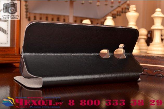 Фирменный чехол-книжка  для  Huawei Ascend G8/G7 Plus/GX8 из качественной водоотталкивающей импортной кожи на жёсткой металлической основе черного цвета