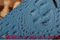 Фирменный роскошный эксклюзивный чехол с объёмным 3D изображением рельефа кожи крокодила синий для Huawei Ascend G8/G7 Plus/GX8. Только в нашем магазине. Количество ограничено