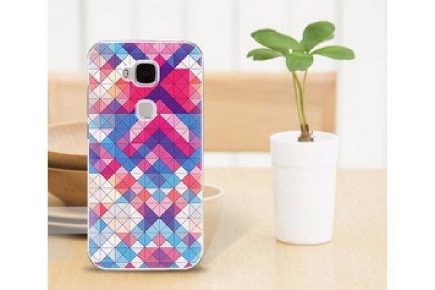 """Фирменная необычная из легчайшего и тончайшего пластика задняя панель-чехол-накладка для Huawei Ascend G8/G7 Plus/GX8 """"тематика Разноцветная Мозаика"""""""