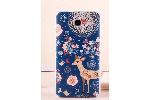 Фирменная пластиковая задняя панель-чехол-накладка с безумно красивым расписным рисунком Оленя в цветах для Huawei Ascend GX1