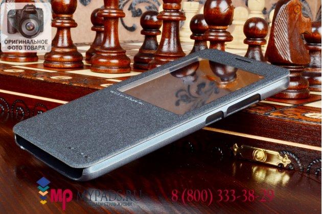 Фирменный оригинальный чехол-книжка для Huawei Ascend GX1 черный кожаный с окошком для входящих вызовов