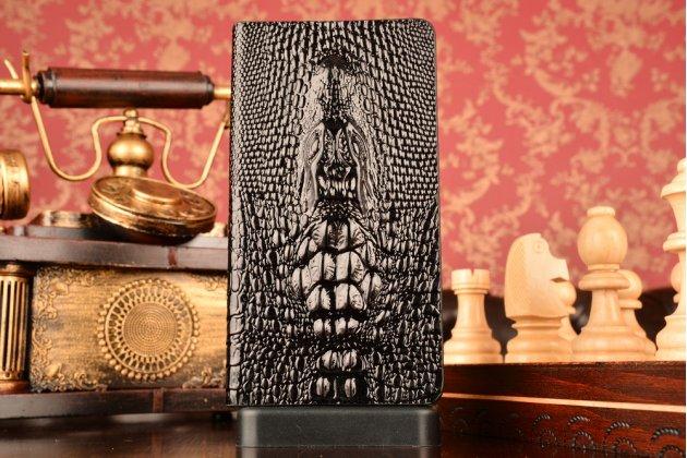 Фирменный роскошный эксклюзивный чехол с объёмным 3D изображением кожи крокодила для Huawei Ascend Mate 7/7 Premium черном цвете. Только в нашем магазине. Количество ограничено