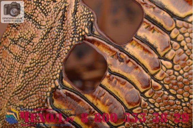 Фирменная элегантная экзотическая задняя панель-крышка с фактурной отделкой натуральной кожи крокодила кофейного цвета для Huawei Ascend Mate 7/7 Premium. Только в нашем магазине. Количество ограничено.