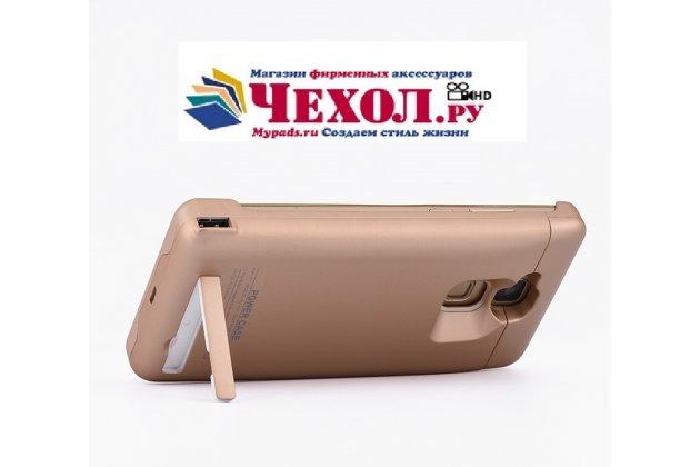 Чехол-бампер со встроенной усиленной мощной батарей-аккумулятором большой повышенной расширенной ёмкости 6800 mAh для Huawei Ascend Mate 7 (MT7-TL10/CL00) золотой + гарантия
