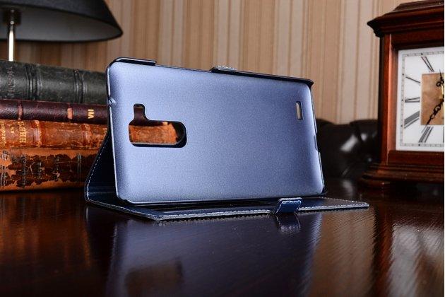 Фирменный оригинальный чехол-книжка для Huawei Ascend Mate 7 синий кожаный с окошком для входящих вызовов