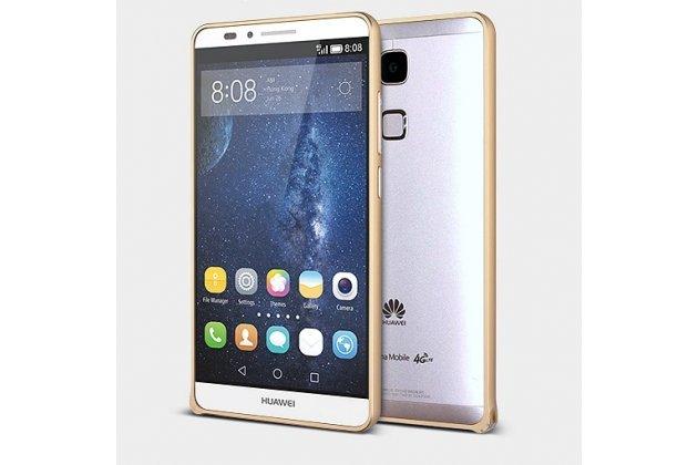 Фирменный оригинальный ультра-тонкий чехол-бампер для Huawei Ascend Mate 7/7 Premium золотой металлический