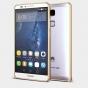 Фирменный оригинальный ультра-тонкий чехол-бампер для Huawei Ascend Mate 7/7 Premium золотой металлический..
