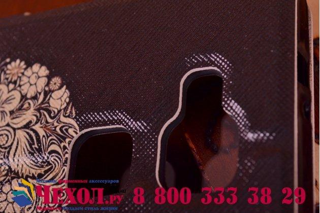 Фирменный чехол-книжка с безумно красивым расписным рисунком черепа на Huawei Ascend Mate 7/7 Premium с окошком для звонков