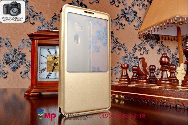 Фирменный оригинальный чехол-книжка для Huawei Ascend Mate 7/7 Premuim золотой кожаный с окошком для входящих вызовов