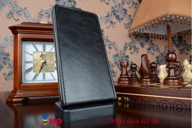 """Фирменный оригинальный вертикальный откидной чехол-флип для Хуавей Асценд Мате 7/Mate 7 Premium черный из качественной импортной кожи """"Prestige"""" Италия"""