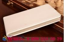 """Фирменный оригинальный вертикальный откидной чехол-флип для Huawei Ascend Mate 7/7 Premium белый из качественной импортной кожи """"Prestige"""" Италия"""